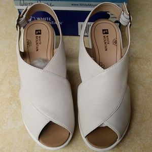 White Mountain White Genuine Leather Wedge Shoes